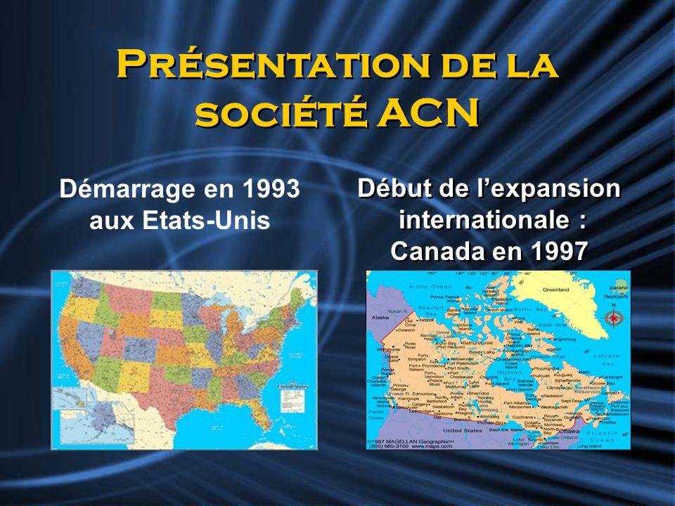Présentation de la société ACN Début de lexpansion internationale : Canada en 1997 Début de lexpansion internationale : Canada en 1997 Démarrage en 19