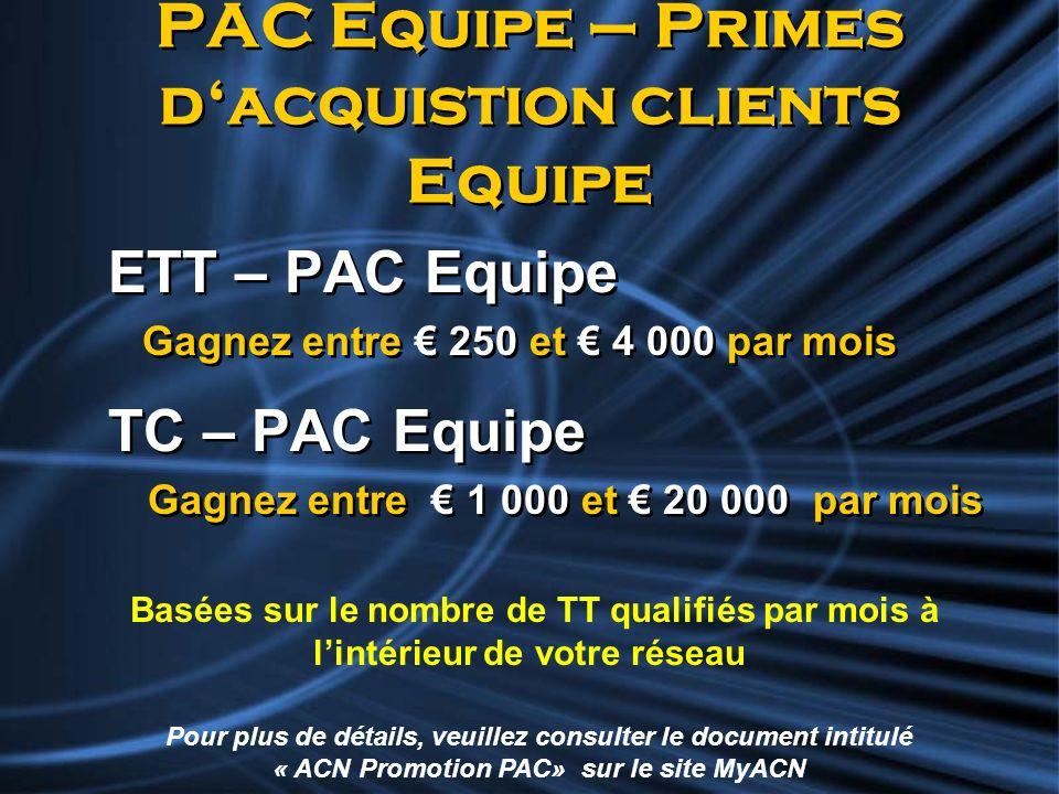 PAC Equipe – Primes dacquistion clients Equipe ETT – PAC Equipe Gagnez entre 250 et 4 000 par mois TC – PAC Equipe Gagnez entre 1 000 et 20 000 par mo