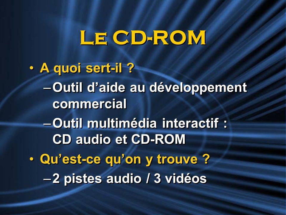 Le CD-ROM A quoi sert-il ? –Outil daide au développement commercial –Outil multimédia interactif : CD audio et CD-ROM Quest-ce quon y trouve ? –2 pist