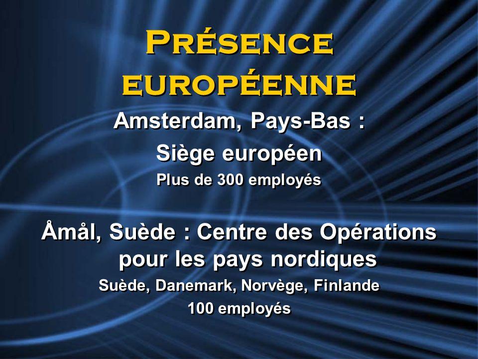 Présence européenne Amsterdam, Pays-Bas : Siège européen Plus de 300 employés Åmål, Suède : Centre des Opérations pour les pays nordiques Suède, Danem