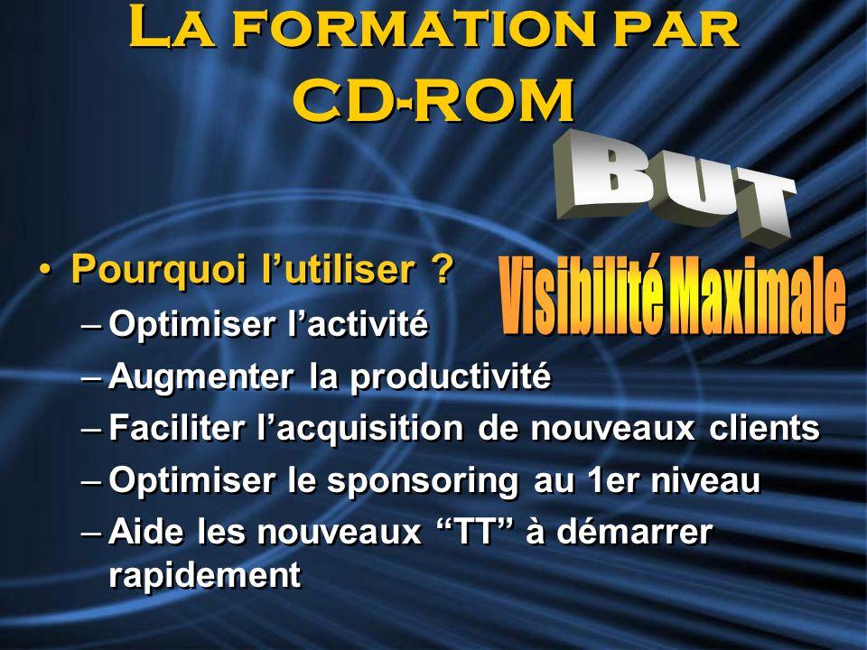 La formation par CD-ROM Pourquoi lutiliser ? –Optimiser lactivité –Augmenter la productivité –Faciliter lacquisition de nouveaux clients –Optimiser le