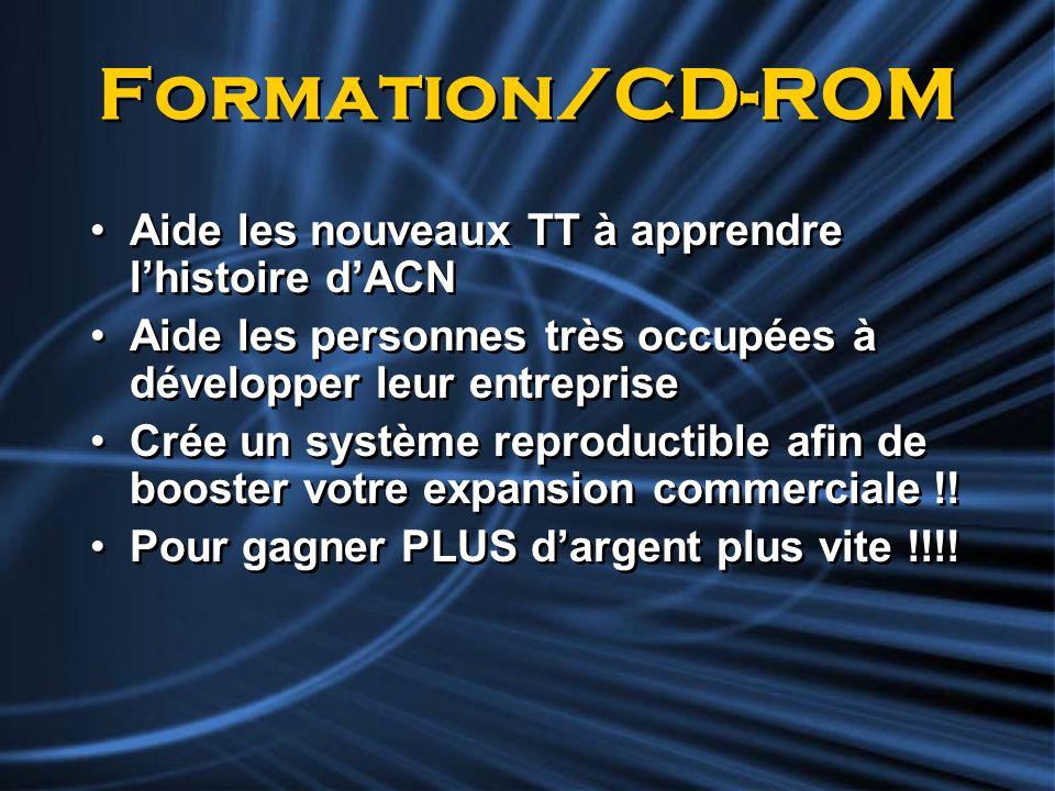 Formation/CD-ROM Aide les nouveaux TT à apprendre lhistoire dACN Aide les personnes très occupées à développer leur entreprise Crée un système reprodu