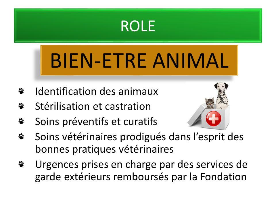 ROLE Identification des animaux Stérilisation et castration Soins préventifs et curatifs Soins vétérinaires prodigués dans lesprit des bonnes pratiques vétérinaires Urgences prises en charge par des services de garde extérieurs remboursés par la Fondation BIEN-ETRE ANIMAL