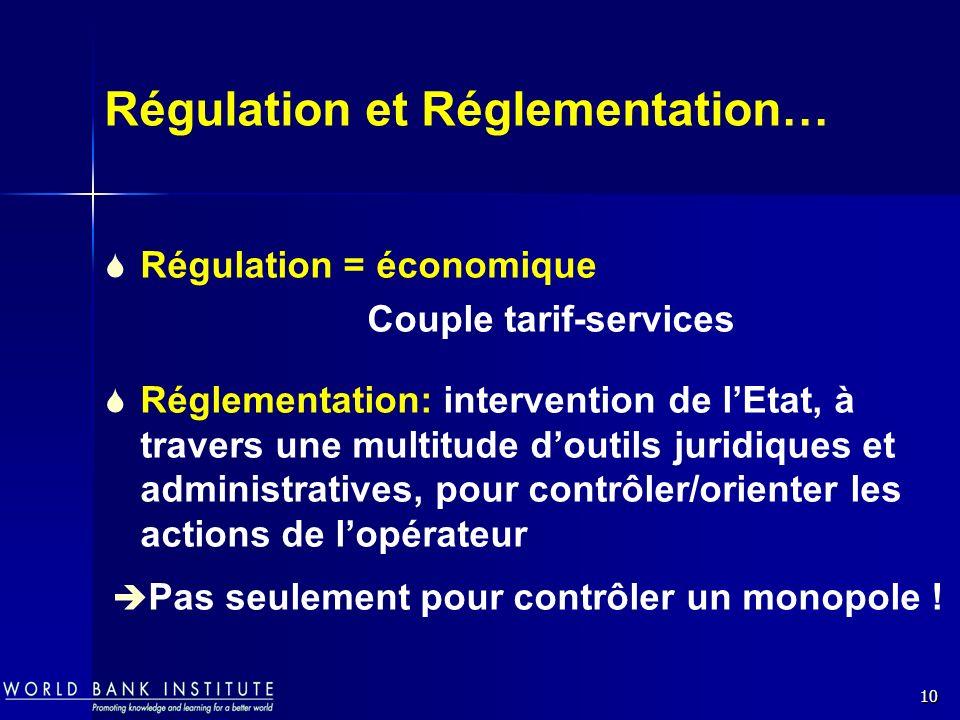 10 Régulation et Réglementation… Régulation = économique Couple tarif-services Réglementation: intervention de lEtat, à travers une multitude doutils