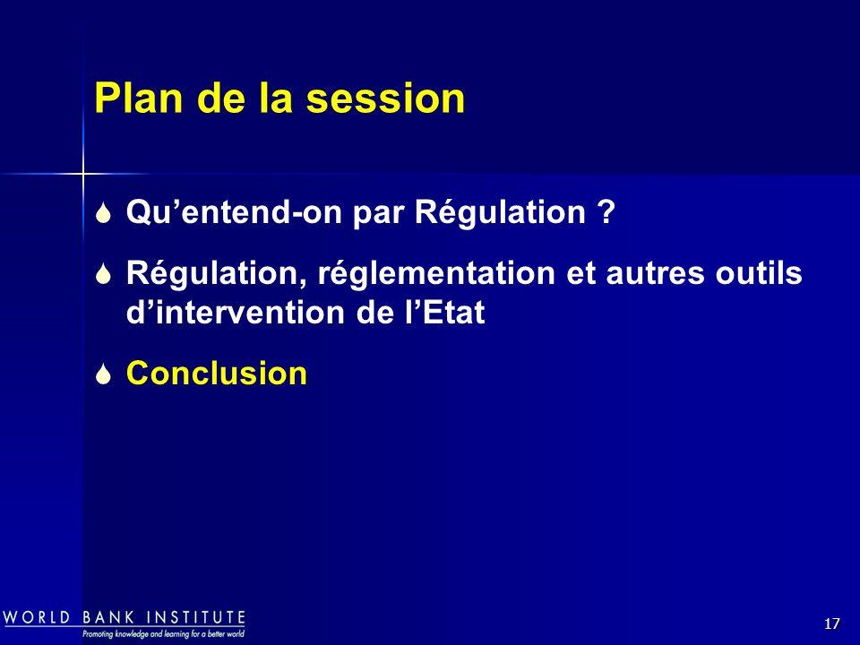 17 Plan de la session Quentend-on par Régulation ? Régulation, réglementation et autres outils dintervention de lEtat Conclusion