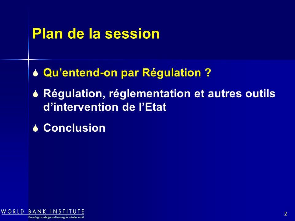 2 Plan de la session Quentend-on par Régulation ? Régulation, réglementation et autres outils dintervention de lEtat Conclusion