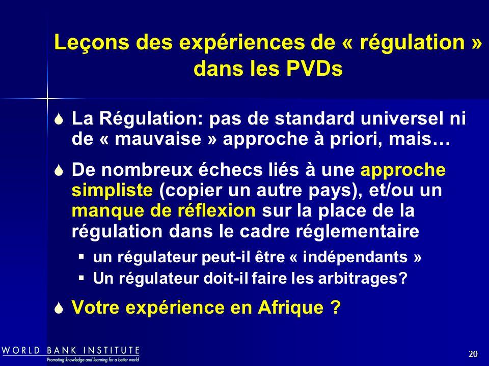 20 Leçons des expériences de « régulation » dans les PVDs La Régulation: pas de standard universel ni de « mauvaise » approche à priori, mais… De nomb