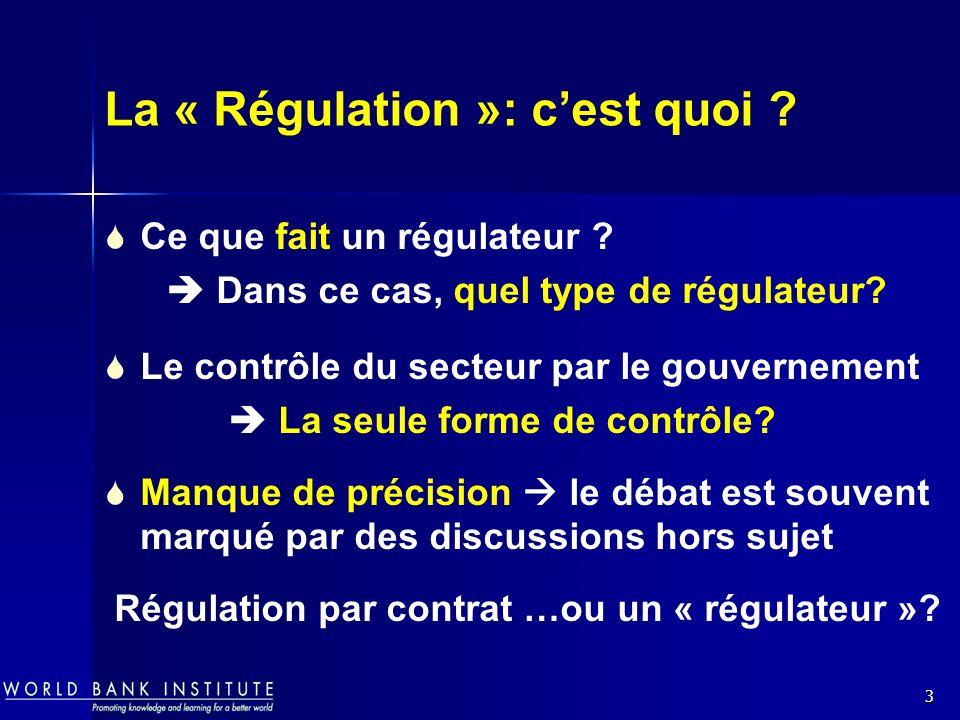 3 La « Régulation »: cest quoi ? Ce que fait un régulateur ? Dans ce cas, quel type de régulateur? Le contrôle du secteur par le gouvernement La seule