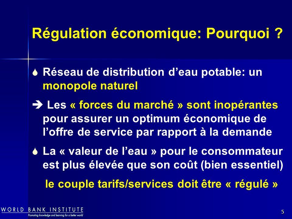 5 Régulation économique: Pourquoi ? Réseau de distribution deau potable: un monopole naturel Les « forces du marché » sont inopérantes pour assurer un