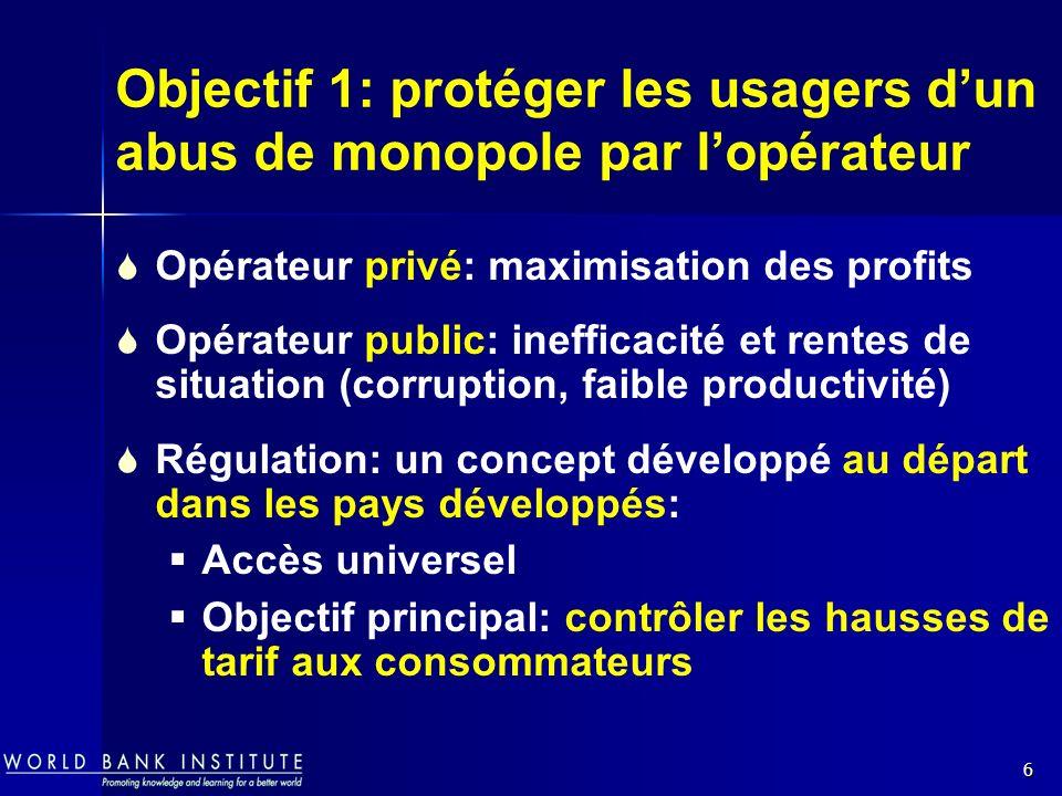6 Objectif 1: protéger les usagers dun abus de monopole par lopérateur Opérateur privé: maximisation des profits Opérateur public: inefficacité et ren
