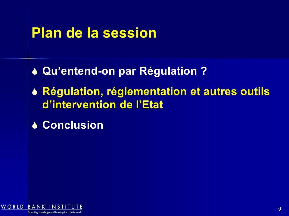 9 Plan de la session Quentend-on par Régulation ? Régulation, réglementation et autres outils dintervention de lEtat Conclusion