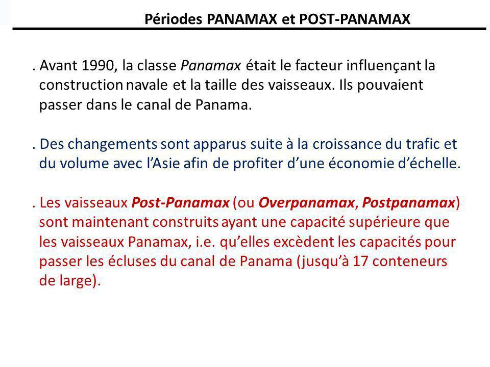 Périodes PANAMAX et POST-PANAMAX. Avant 1990, la classe Panamax était le facteur influençant la construction navale et la taille des vaisseaux. Ils po