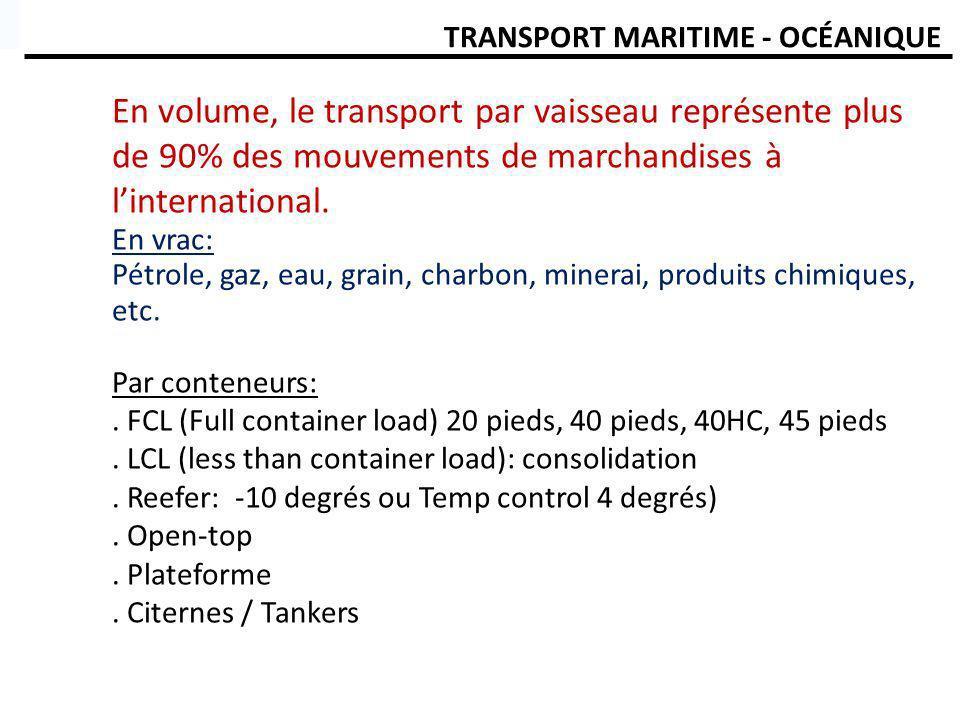 TRANSPORT MARITIME - OCÉAN Types de chargement: Grain, céréales,ciment, charbon, minéraux, etc) Liquides Conteneurs Unité de chargement:.