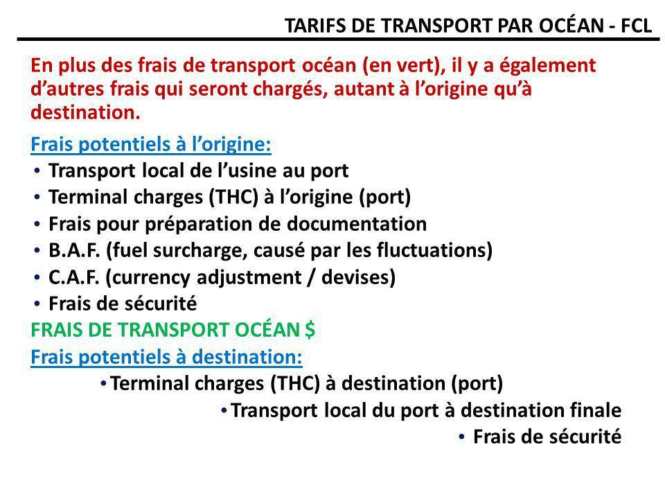 TARIFS DE TRANSPORT PAR OCÉAN - FCL En plus des frais de transport océan (en vert), il y a également dautres frais qui seront chargés, autant à lorigi