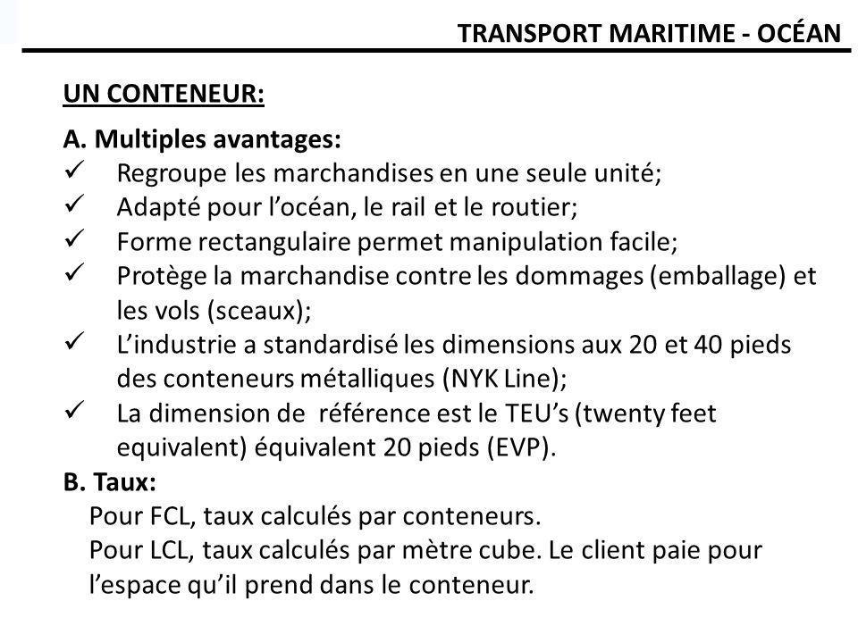 TRANSPORT MARITIME - OCÉAN UN CONTENEUR: A. Multiples avantages: Regroupe les marchandises en une seule unité; Adapté pour locéan, le rail et le routi