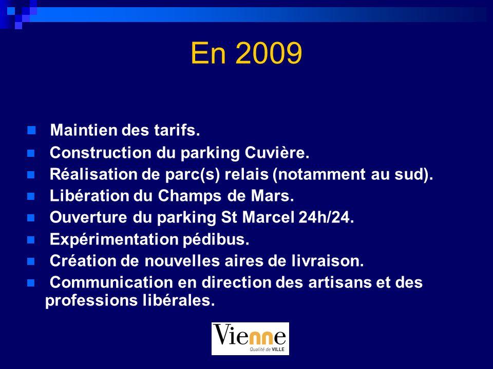 En 2009 Maintien des tarifs. Construction du parking Cuvière. Réalisation de parc(s) relais (notamment au sud). Libération du Champs de Mars. Ouvertur