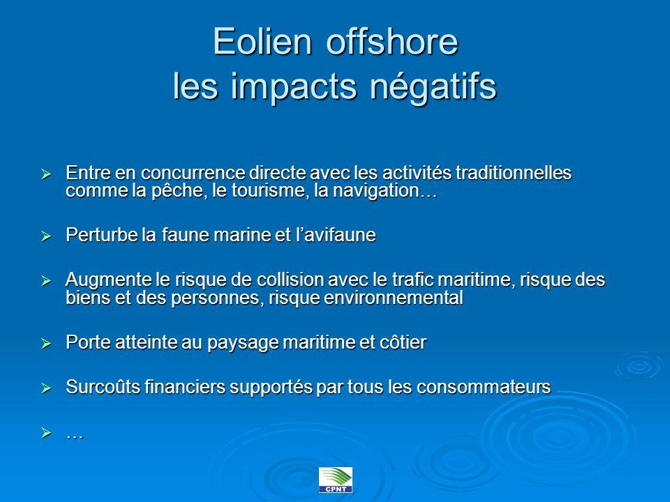 Eolien offshore les impacts négatifs Entre en concurrence directe avec les activités traditionnelles comme la pêche, le tourisme, la navigation… Entre