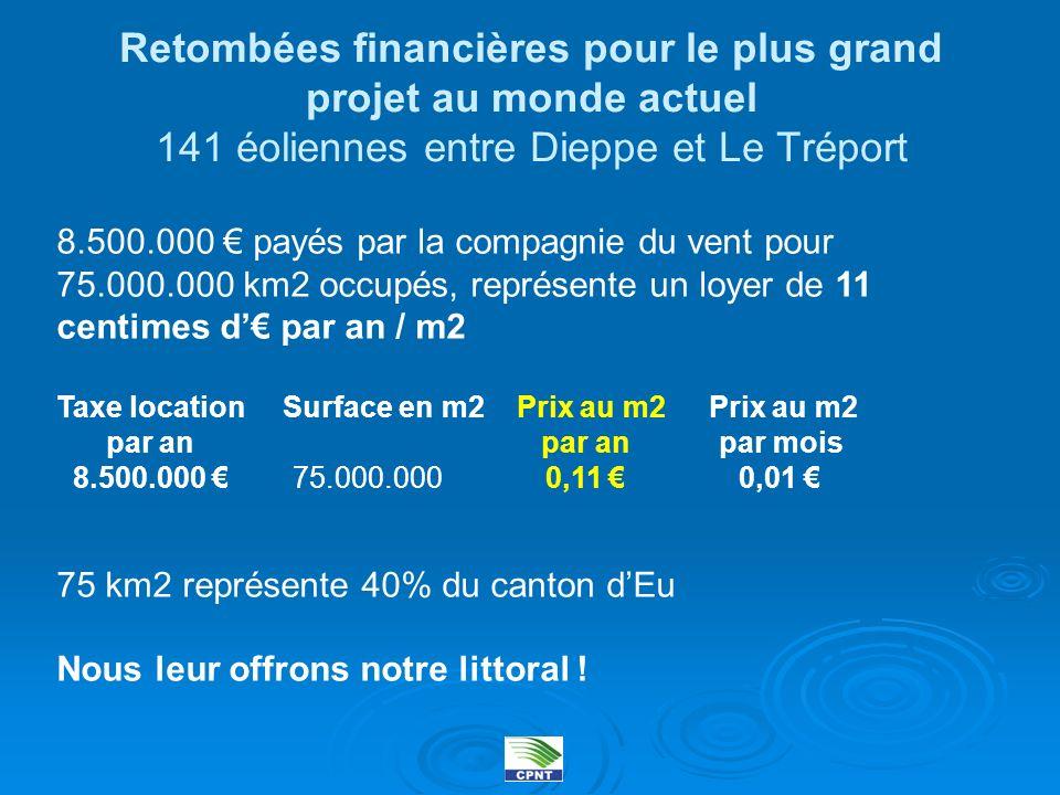 Retombées financières pour le plus grand projet au monde actuel 141 éoliennes entre Dieppe et Le Tréport 8.500.000 payés par la compagnie du vent pour