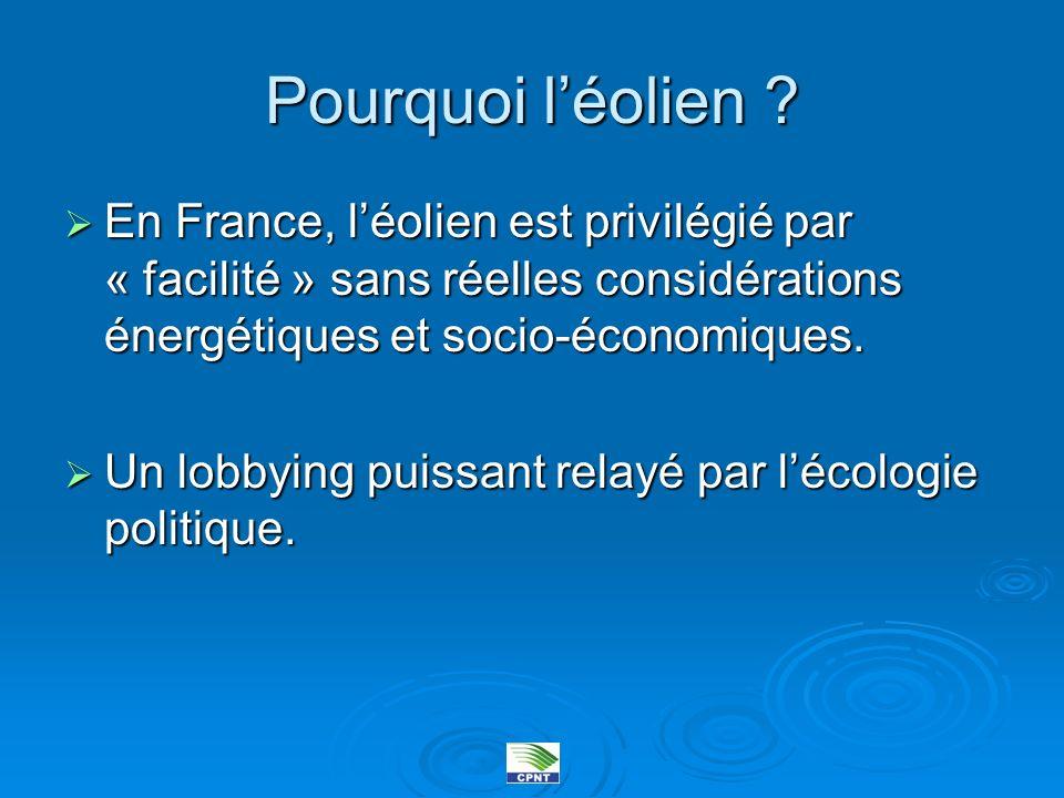 Pourquoi léolien ? En France, léolien est privilégié par « facilité » sans réelles considérations énergétiques et socio-économiques. En France, léolie
