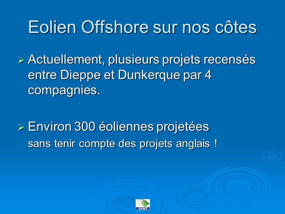 Eolien Offshore sur nos côtes Actuellement, plusieurs projets recensés entre Dieppe et Dunkerque par 4 compagnies. Actuellement, plusieurs projets rec