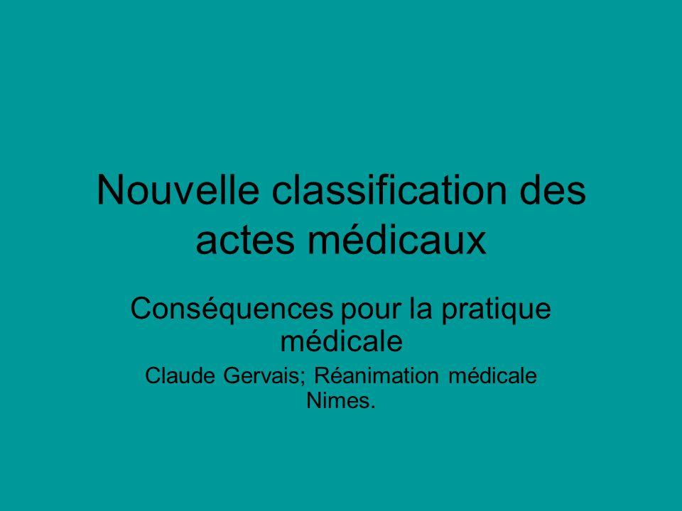 Nouvelle classification des actes médicaux Conséquences pour la pratique médicale Claude Gervais; Réanimation médicale Nimes.