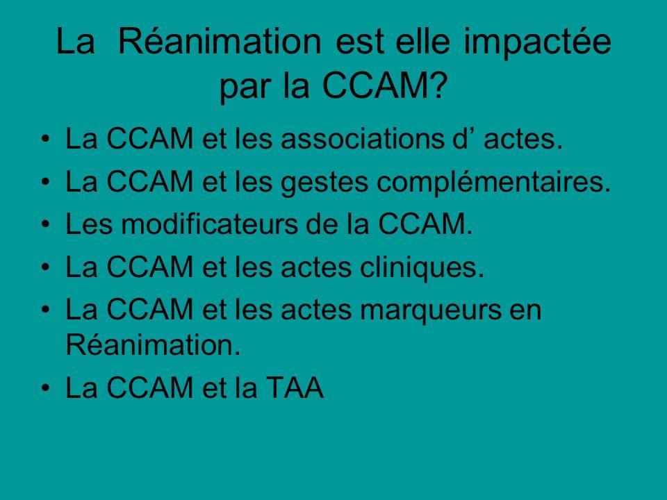 La Réanimation est elle impactée par la CCAM? La CCAM et les associations d actes. La CCAM et les gestes complémentaires. Les modificateurs de la CCAM