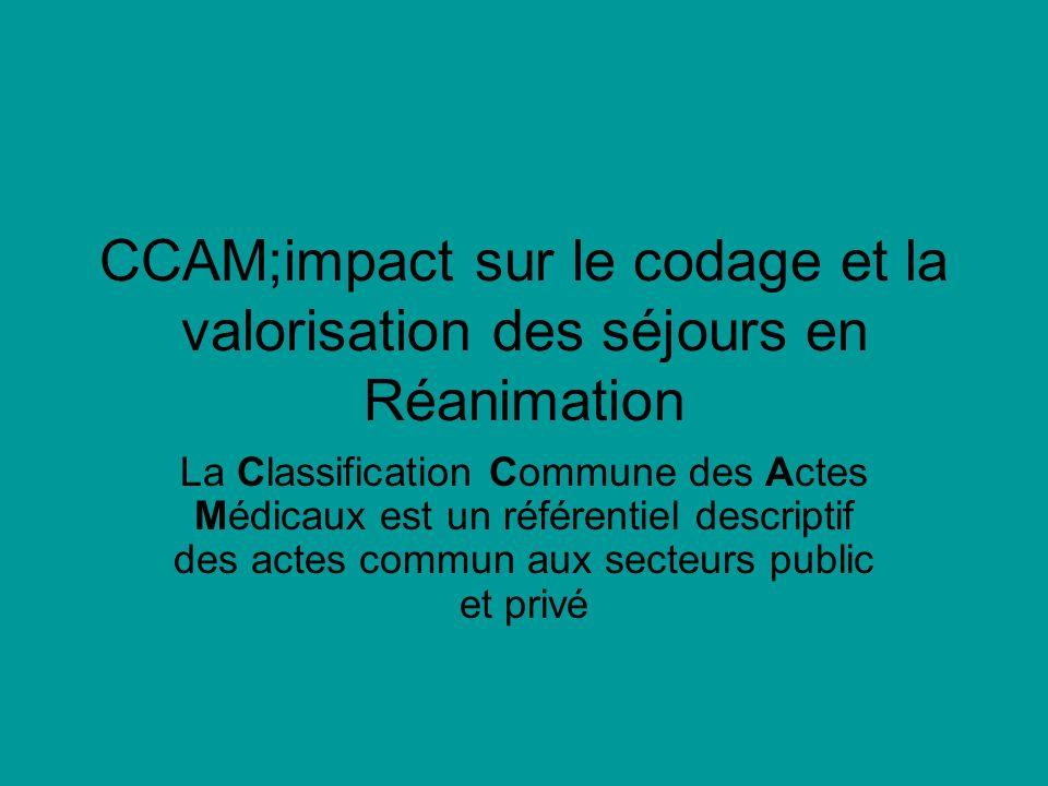 CCAM;impact sur le codage et la valorisation des séjours en Réanimation La Classification Commune des Actes Médicaux est un référentiel descriptif des actes commun aux secteurs public et privé