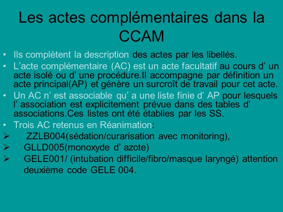 Les actes complémentaires dans la CCAM Ils complètent la description des actes par les libellés. Lacte complémentaire (AC) est un acte facultatif au c