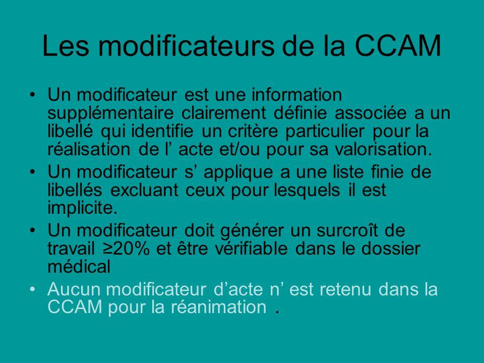 Les modificateurs de la CCAM Un modificateur est une information supplémentaire clairement définie associée a un libellé qui identifie un critère particulier pour la réalisation de l acte et/ou pour sa valorisation.