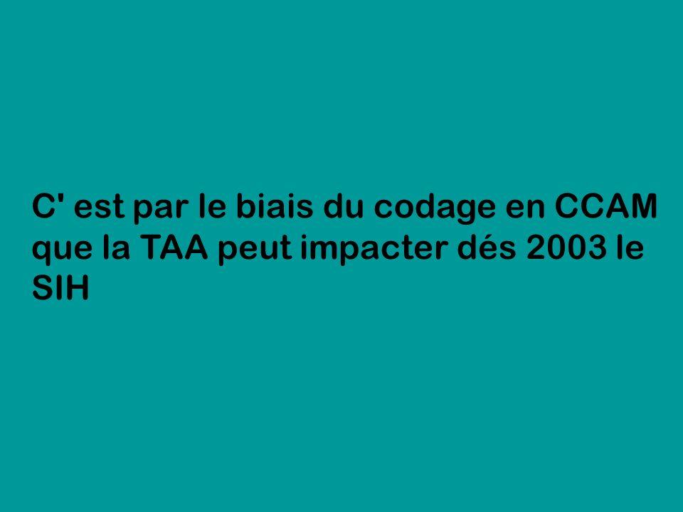 C' est par le biais du codage en CCAM que la TAA peut impacter dés 2003 le SIH