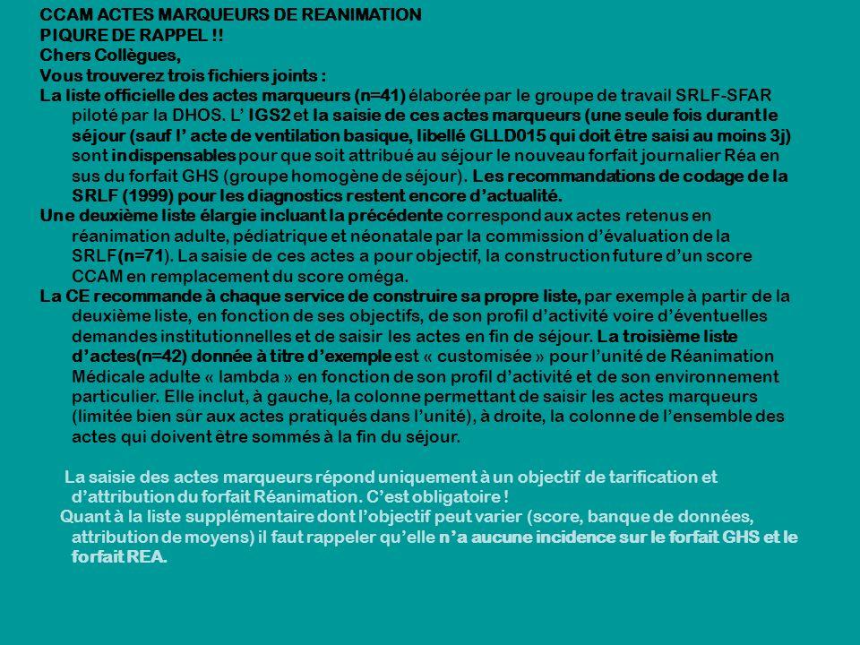 CCAM ACTES MARQUEURS DE REANIMATION PIQURE DE RAPPEL !! Chers Collègues, Vous trouverez trois fichiers joints : La liste officielle des actes marqueur