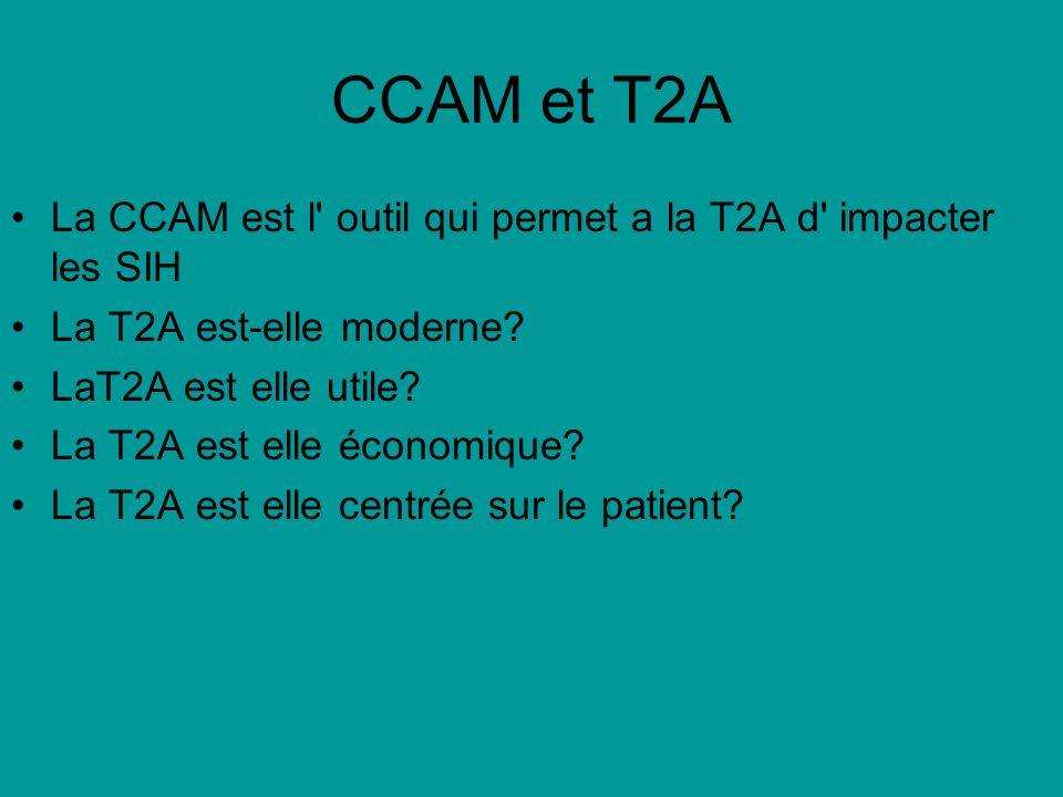 CCAM et T2A La CCAM est l' outil qui permet a la T2A d' impacter les SIH La T2A est-elle moderne? LaT2A est elle utile? La T2A est elle économique? La