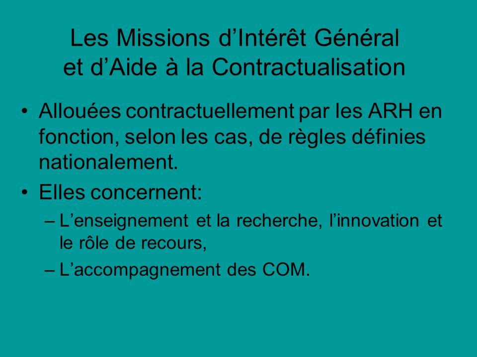 Les Missions dIntérêt Général et dAide à la Contractualisation Allouées contractuellement par les ARH en fonction, selon les cas, de règles définies nationalement.