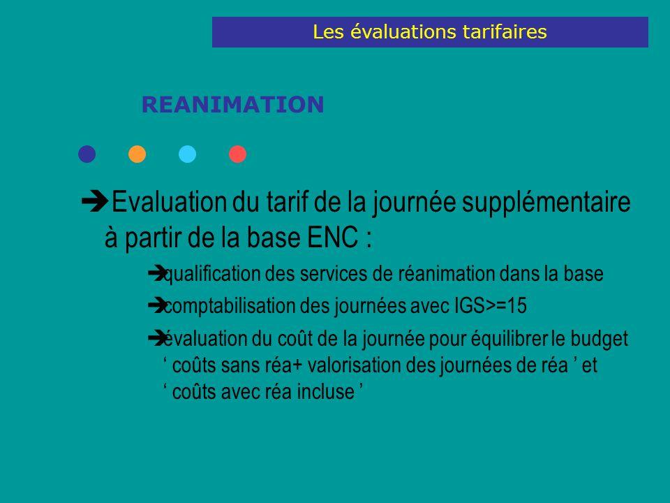 REANIMATION Evaluation du tarif de la journée supplémentaire à partir de la base ENC : qualification des services de réanimation dans la base comptabi