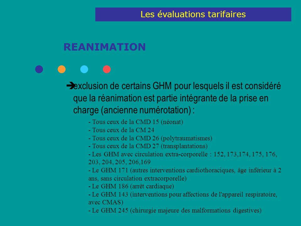 REANIMATION exclusion de certains GHM pour lesquels il est considéré que la réanimation est partie intégrante de la prise en charge (ancienne numérotation) : - Tous ceux de la CMD 15 (néonat) - Tous ceux de la CM 24 - Tous ceux de la CMD 26 (polytraumatismes) - Tous ceux de la CMD 27 (transplantations) - Les GHM avec circulation extra-corporelle : 152, 173,174, 175, 176, 203, 204, 205, 206,169 - Le GHM 171 (autres interventions cardiothoraciques, âge inférieur à 2 ans, sans circulation extracorporelle) - Le GHM 186 (arrêt cardiaque) - Le GHM 143 (interventions pour affections de l appareil respiratoire, avec CMAS) - Le GHM 245 (chirurgie majeure des malformations digestives) Les évaluations tarifaires