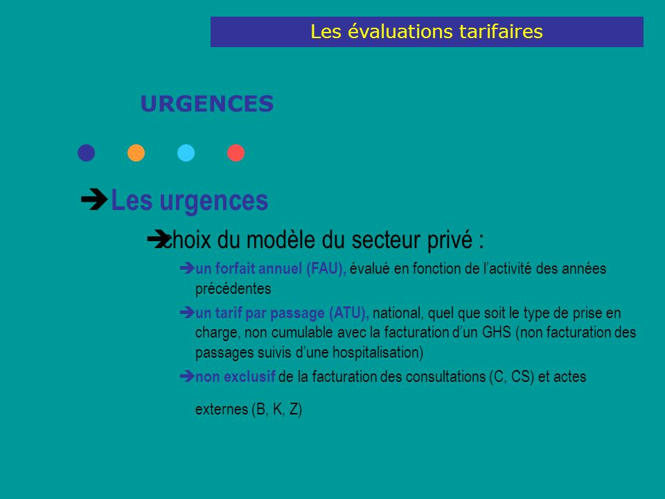 URGENCES Les urgences choix du modèle du secteur privé : un forfait annuel (FAU), évalué en fonction de lactivité des années précédentes un tarif par
