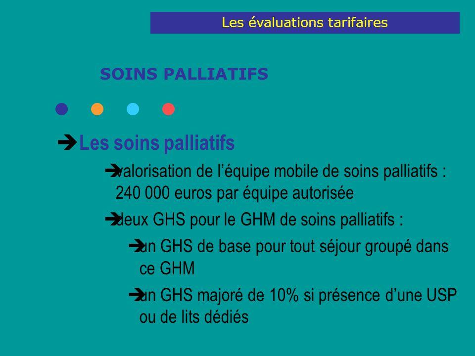 SOINS PALLIATIFS Les soins palliatifs valorisation de léquipe mobile de soins palliatifs : 240 000 euros par équipe autorisée deux GHS pour le GHM de