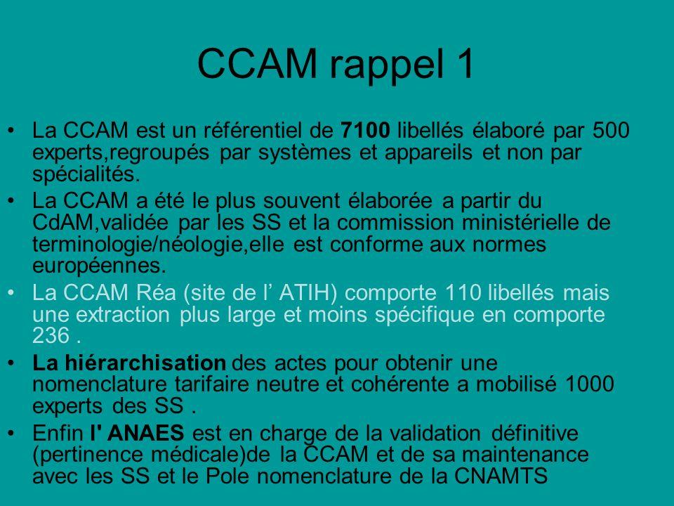 CCAM rappel 1 La CCAM est un référentiel de 7100 libellés élaboré par 500 experts,regroupés par systèmes et appareils et non par spécialités. La CCAM