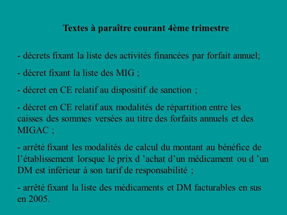 Textes à paraître courant 4ème trimestre - décrets fixant la liste des activités financées par forfait annuel; - décret fixant la liste des MIG ; - dé