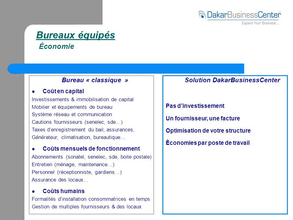 Bureaux équipés Économie Bureau « classique » Coût en capital Investissements & immobilisation de capital Mobilier et équipements de bureau Système ré