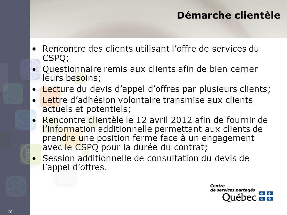 16 Démarche clientèle Rencontre des clients utilisant loffre de services du CSPQ; Questionnaire remis aux clients afin de bien cerner leurs besoins; L