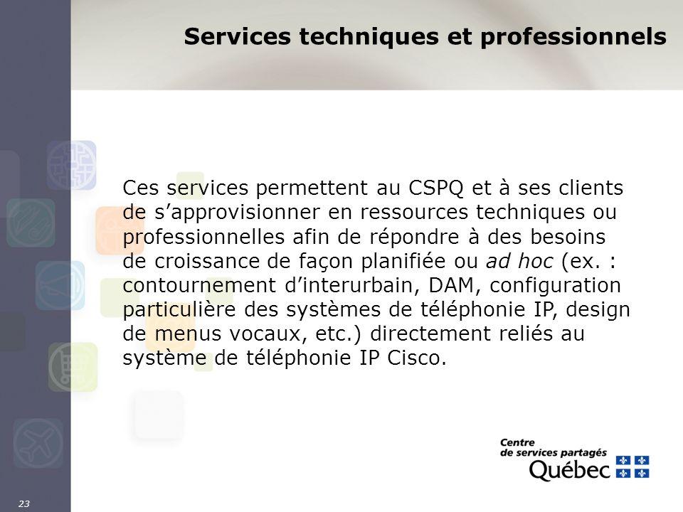23 Services techniques et professionnels Ces services permettent au CSPQ et à ses clients de sapprovisionner en ressources techniques ou professionnel