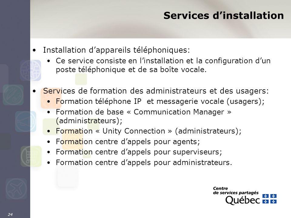 24 Services dinstallation Installation dappareils téléphoniques: Ce service consiste en linstallation et la configuration dun poste téléphonique et de