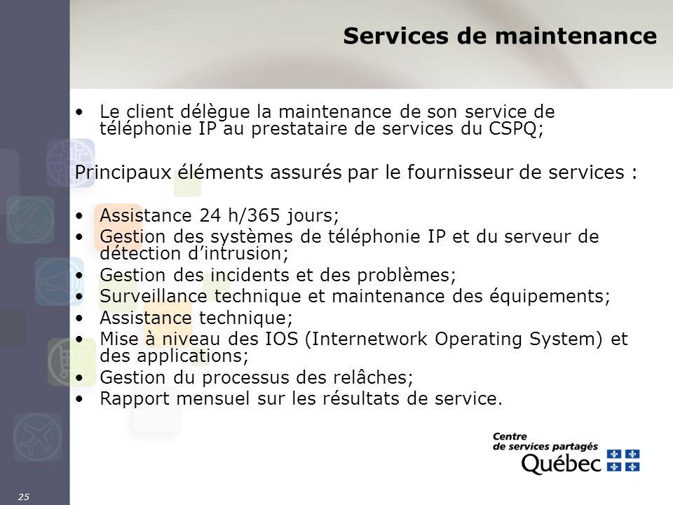 25 Services de maintenance Le client délègue la maintenance de son service de téléphonie IP au prestataire de services du CSPQ; Principaux éléments as