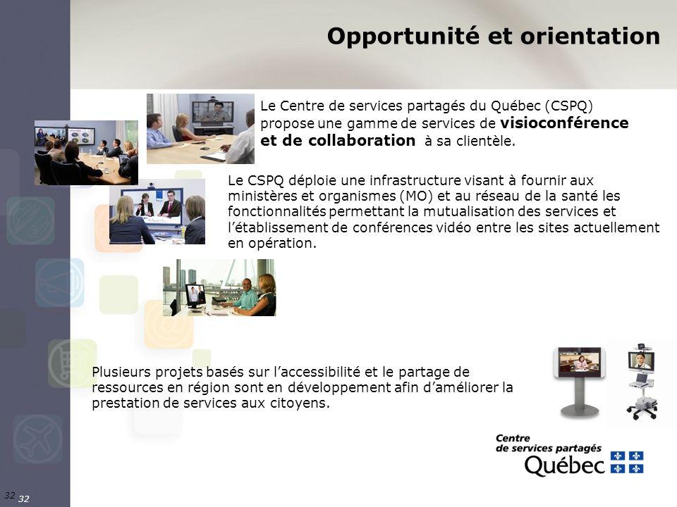 32 Le Centre de services partagés du Québec (CSPQ) propose une gamme de services de visioconférence et de collaboration à sa clientèle. Le CSPQ déploi