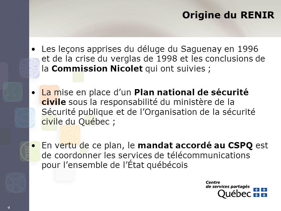 4 Origine du RENIR Les leçons apprises du déluge du Saguenay en 1996 et de la crise du verglas de 1998 et les conclusions de la Commission Nicolet qui