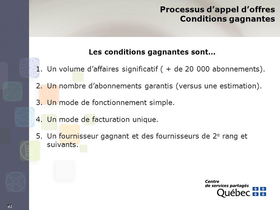 41 Processus dappel doffres Conditions gagnantes Les conditions gagnantes sont… 1.Un volume daffaires significatif ( + de 20 000 abonnements). 2.Un no