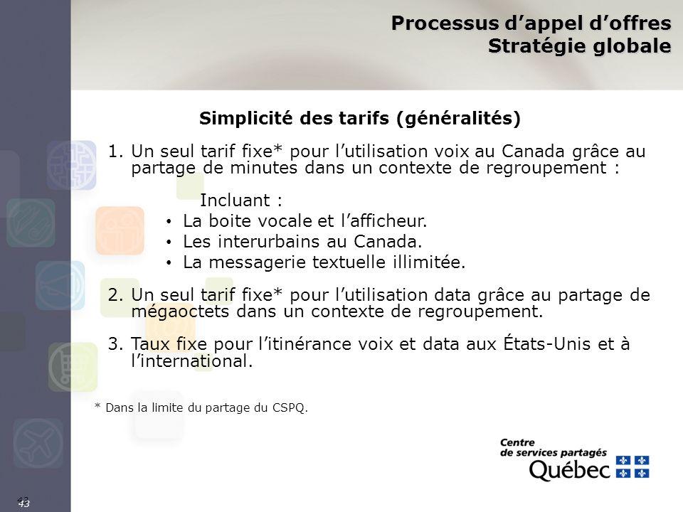 43 Processus dappel doffres Stratégie globale Simplicité des tarifs (généralités) 1.Un seul tarif fixe* pour lutilisation voix au Canada grâce au part