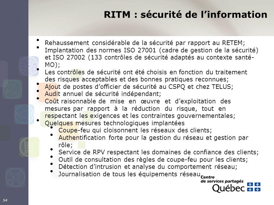 RITM : sécurité de linformation 54 Rehaussement considérable de la sécurité par rapport au RETEM; Implantation des normes ISO 27001 (cadre de gestion