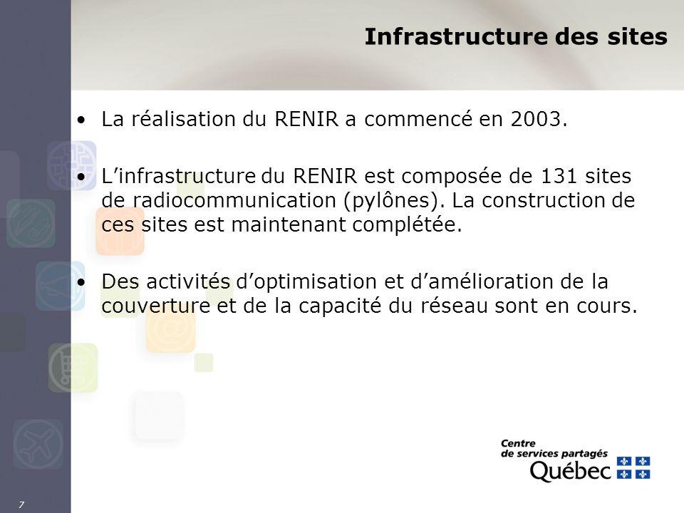 7 Infrastructure des sites La réalisation du RENIR a commencé en 2003. Linfrastructure du RENIR est composée de 131 sites de radiocommunication (pylôn